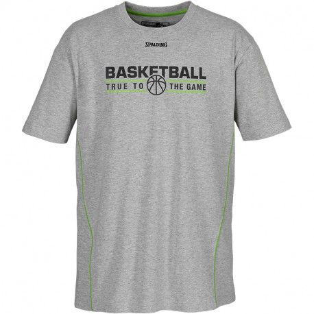Spalding TEAM T-SHIRT / grau-melange/hope grün