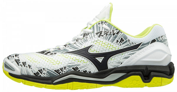 Mizuno Wave Stealth V / White/Black/Safety Yellow