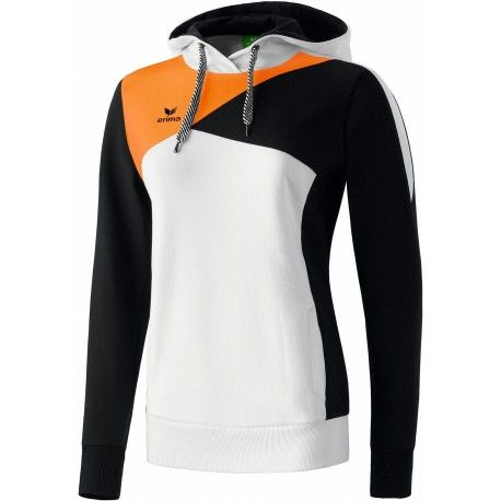 Erima Premium One Hoodie - Damen / weiß/schwarz/neon orange